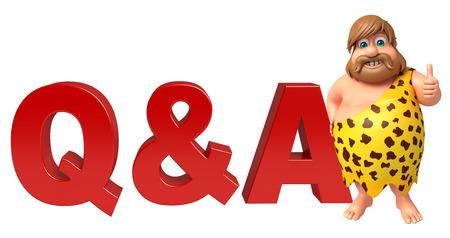 lanzamiento de jabalina: Hombre de las cavernas en Q & Un signo