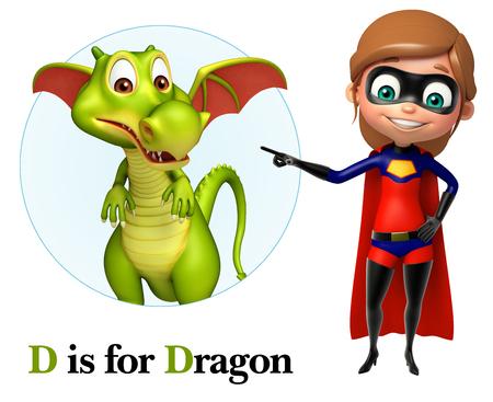 Super girl pointing Dragon Stock Photo