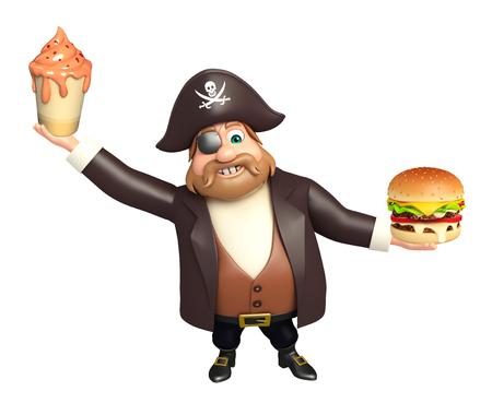 tricorne: Pirate with Ice cream & burger Stock Photo