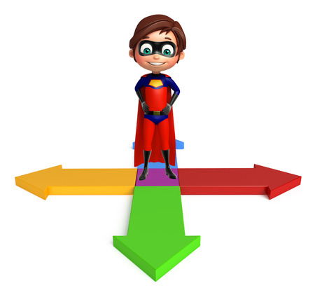 Superboy with Arrow sign Stock Photo