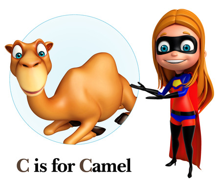 zoo dry: Super girl pointing camel Stock Photo
