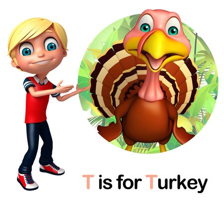 toonimal: Kid boy pointing Turkey