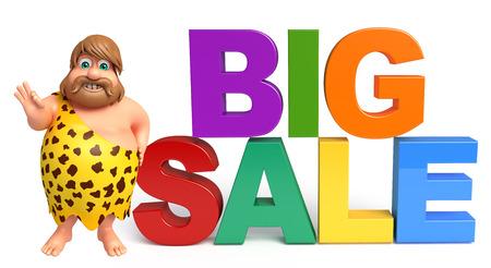 Caveman with Big sale sign