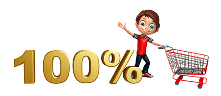 kid boy with 100% sign & trolly Stock Photo