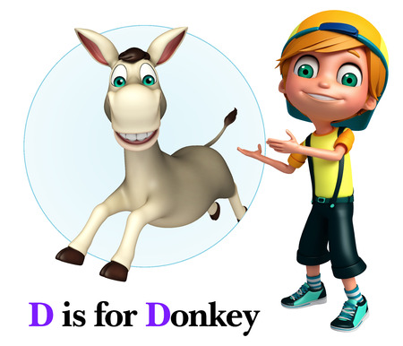 kid pointing: Kid boy pointing Donkey