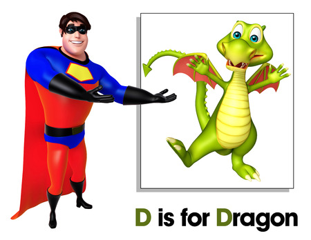 Super hero pointing Dragon