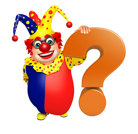 Clown with Question mark sign Stock Photo