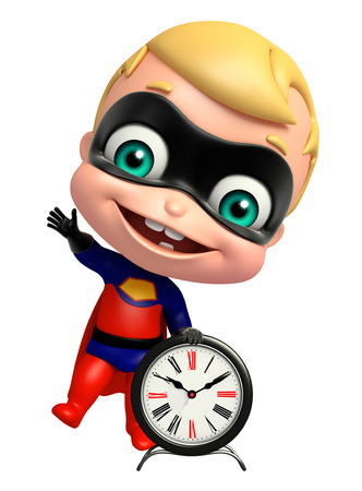cute superbaby with Clock Stock Photo
