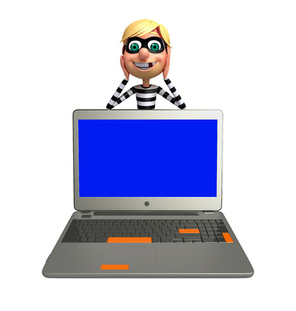 kidnapper: Thief with Laptop Stock Photo