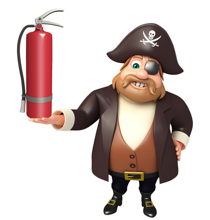 tricorne: Pirate with fire extinguisher Stock Photo