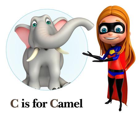 super girl: Super girl pointing Elephant