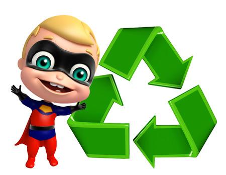 niños reciclando: superbaby linda con el signo de reciclaje