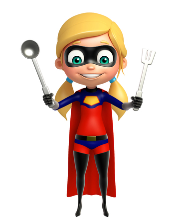 kitchen equipment: supergirl with kitchen equipment Stock Photo