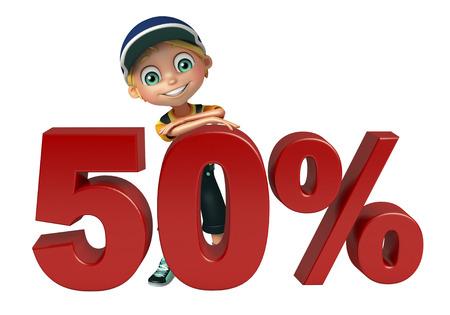 kid boy with 50% sign Zdjęcie Seryjne