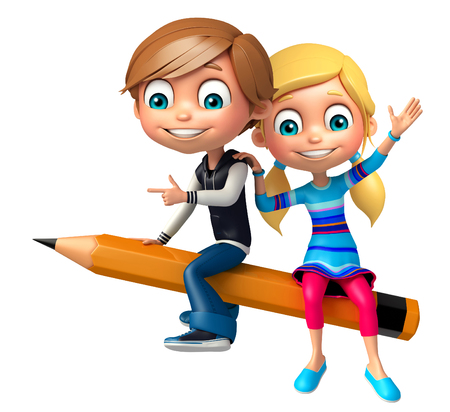 Kid boy and girl with Pencil