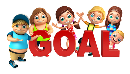 kid girl, kid boy and cute baby with Goal sign