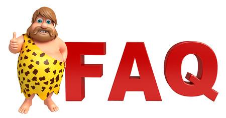 lanzamiento de jabalina: Hombre de las cavernas con signo FAQ