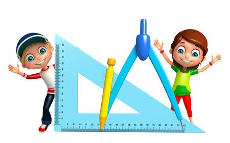 compas de dibujo: muchacho niño y niña con el compás de gráfico Foto de archivo