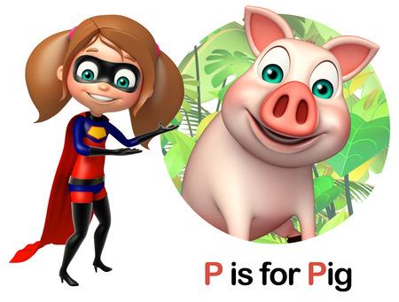 super girl: super girl pointing Pig