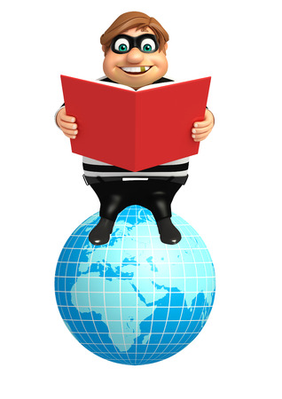 Thief with Earth sign & book Stock Photo