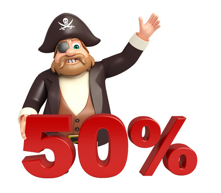 Pirate with 50% sign