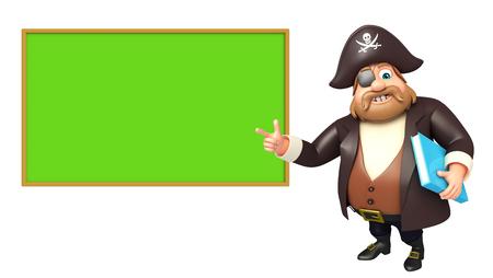 tricorne: Pirate with Black board & book Stock Photo