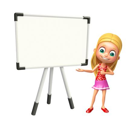kid girl with Display board