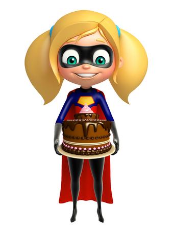 supergirl: supergirl with Cake Stock Photo