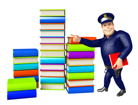 Police with Book stack 写真素材