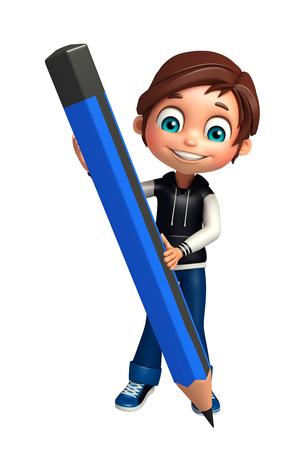 kid boy with pencil