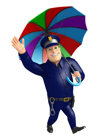 Police with Umbrella