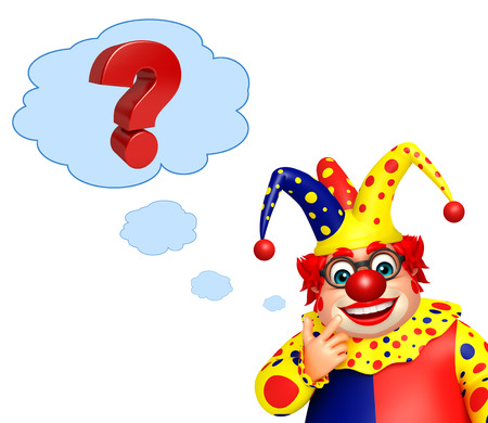 wig: Clown with Question mark Stock Photo