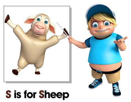 Kid boy pointing Sheep