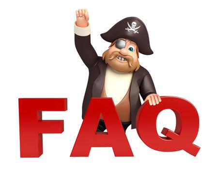tricorne: Pirate with FAQ sign Stock Photo