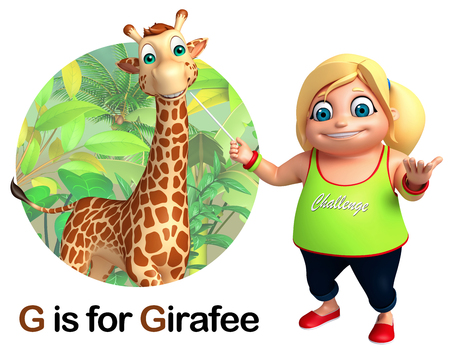 Student Life: Kid girl pointing Girafee Stock Photo