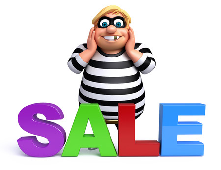 plunder: Thief with Sale sign Stock Photo