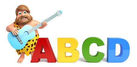 abcd: Caveman with Gitar & abcd sign Stock Photo
