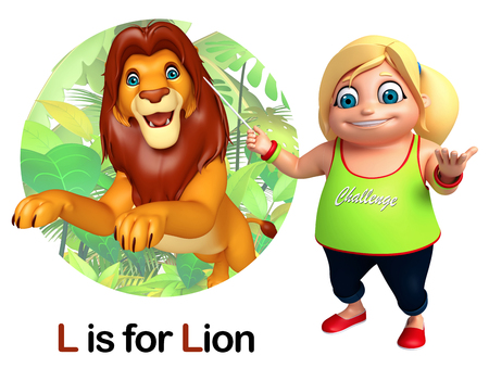 Student Life: Kid girl pointing Lion Stock Photo