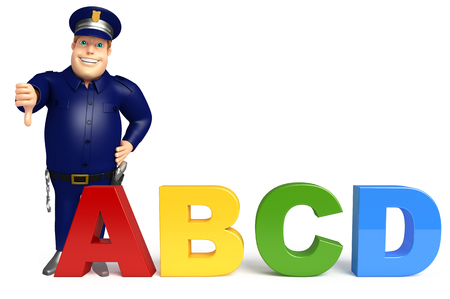 abcd: Police with ABCD sign Stock Photo