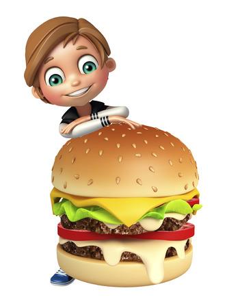 boy kid: kid boy with burger Stock Photo