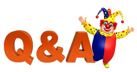 qa: Clown with Q&A sign