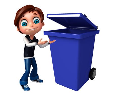 kid boy with dustbin