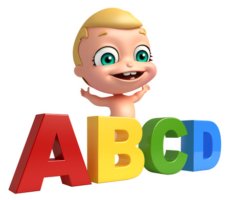 abcd: cute baby with ABCD sign Stock Photo