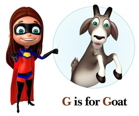 super girl: Super girl pointing Goat
