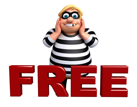 loot: Thief with Free sign Stock Photo