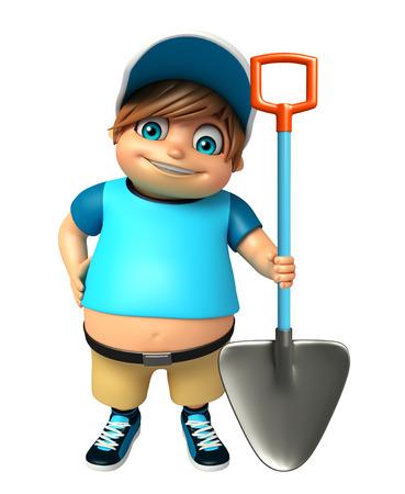 kid boy with Digging shovel