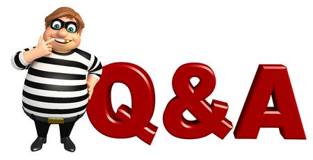 qa: Thief with Q&A sign Stock Photo