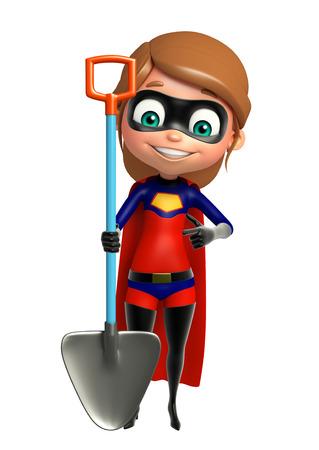 supergirl with Digging shovel