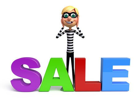 burgle: Thief with Sale sign Stock Photo