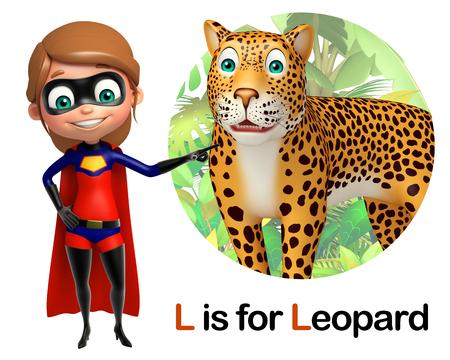 super girl: Super girl pointing Leopard